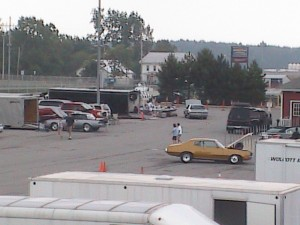 Buicks in the pit area of track