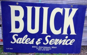 buick sales and service porcelain sign