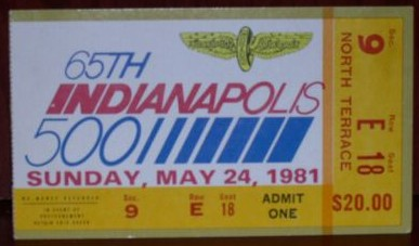 1981 indy ticket