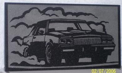 buick grand national burnout granite tile