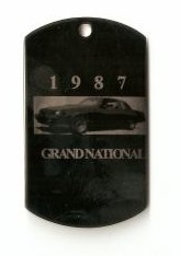 dog tag style 1987 buick keychain