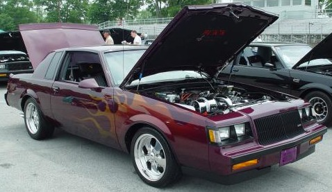 purple buick grand national with flames