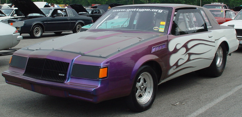 purple white flamed buick GN