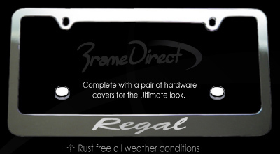 regal chrome license plate frame
