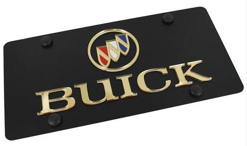 carbon black gold buick logo license plate