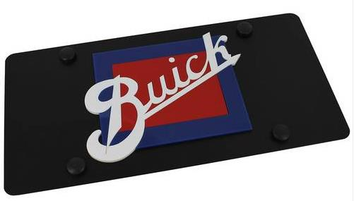carbon black retro buick logo license plate