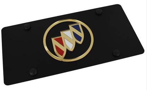 carbon black tri shield logo license plate