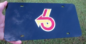 laser cut acrylic turbo 6 logo license plate