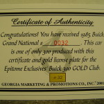 gmp epitome exclusives certificate of authenticity