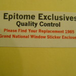 Epitome Exclusives window sticker envelope