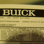 gmp buick replica window sticker
