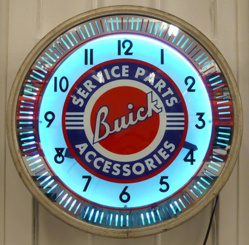 1930s neon illusion buick clock