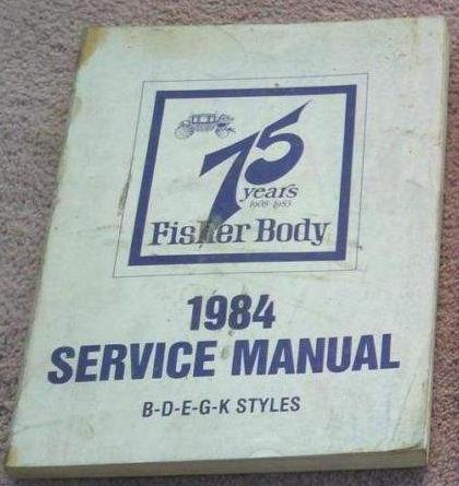 1984 GM Fisher Body Service Manual