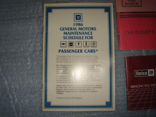 1986 Buick Regal Owners Manual and Supplement Package 2
