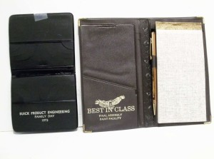 BUICK BEST IN CLASS NOTE PAD HOLDER AND BUICK ENGINEERING CARD HOLDER