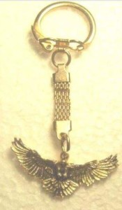 happy the hawk key chain
