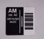 repro air cleaner decal