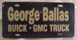 George Ballas Buick license plate