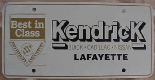 Kendrick dealership license plate