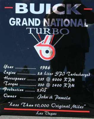 buick grand national car show sign