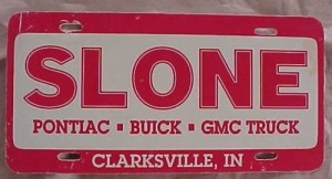 slone buick dealership license plate