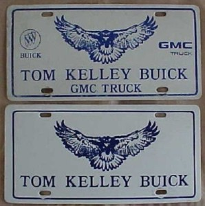 tom kelley buick license plate set