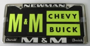 m&m buick plate frame