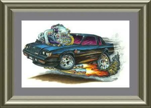 Buick GN cartoon type print