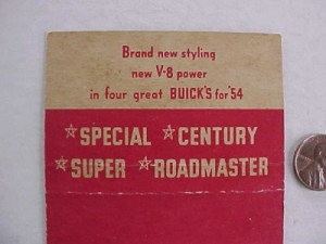 1954 buick matchbook