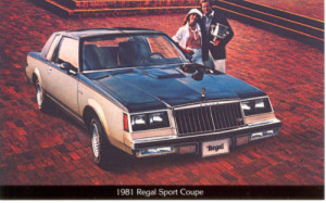 1981 buick regal sport coupe postcard