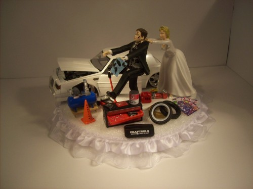 Auto Mechanic Groom 1987 Buick Grand National Regal Funny Wedding Cake Topper