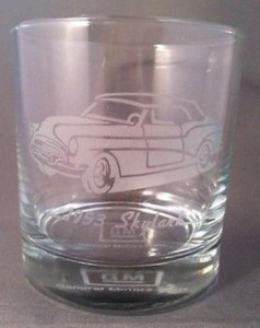 1953 Buick Skylark GM Dealer Exclusive Etched Drinking Glass from 1987