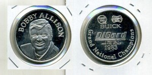BOBBY ALLISON 1983 GRAND NATIONAL CHAMPION 1 OUNCE .999 SILVER