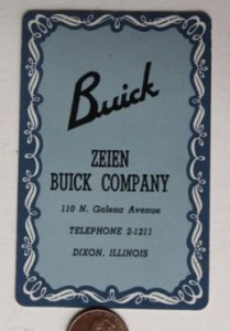 zeien buick dealer playing card
