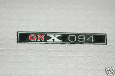 GM style Buick GNX dash plate