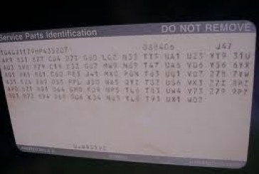Buick Regal Trunk Label SPID RPO Codes