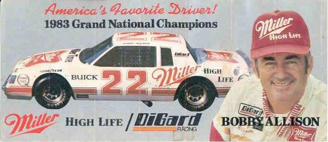 1983 bobby allison racing sticker