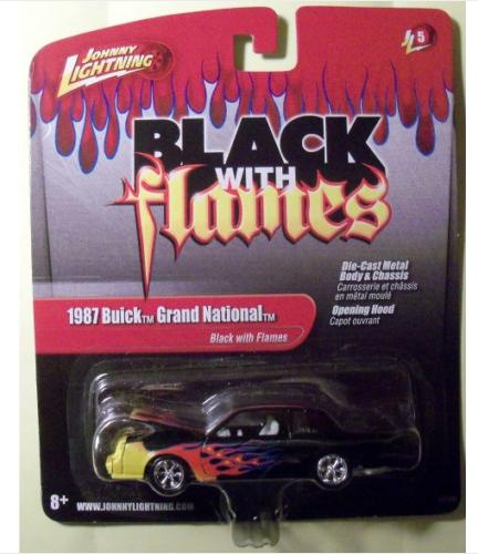 black with flames