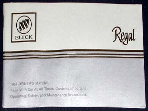 1984 buick regal owners manual