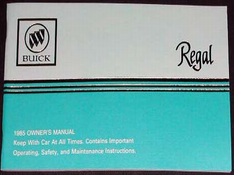 1985 buick regal owners manual
