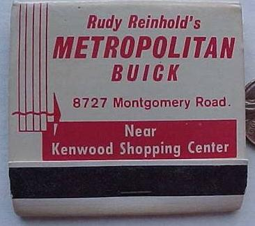 buick car dealership matchbook