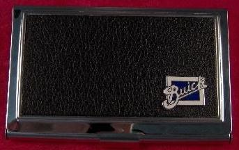 buick script logo business card case