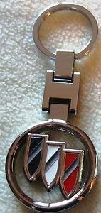 buick tri shield logo silver finish key chain