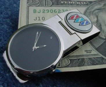 BUICK CHROME MONEY CLIP WATCH