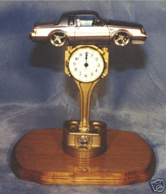 buick diecast gold plated piston clock