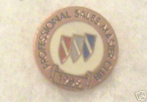 buick professional sales master club 1986 pin