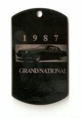 dog tag style 1987 buick keychain