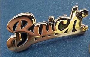 gold buick script pin