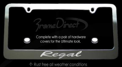 regal chrome license plate frame