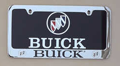 silver buick license frame